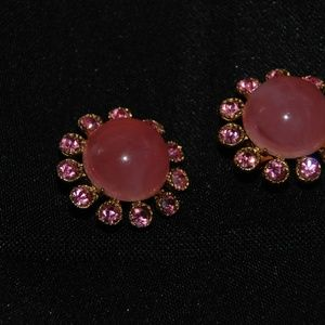 Jewelry - Pink Cabechon Clip Earrings w/ Pink Rhinestones